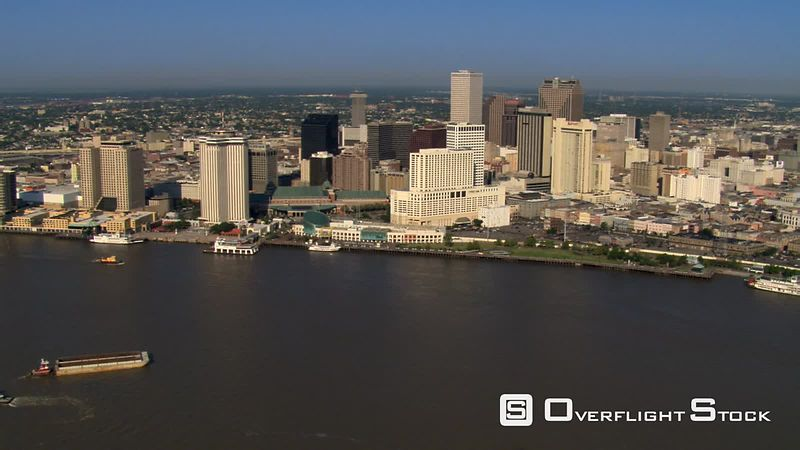 Flight past downtown New Orleans from riverfront