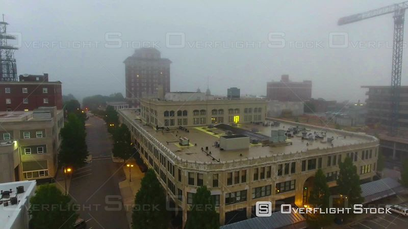 Downtown Asheville North Carolina At Sunrise In Morning Mist