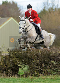 Oliver Beazley jumping a hedge from the meet