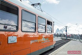 Matterhorn railway train at Gornergrat station, Zermatt, Switzerland