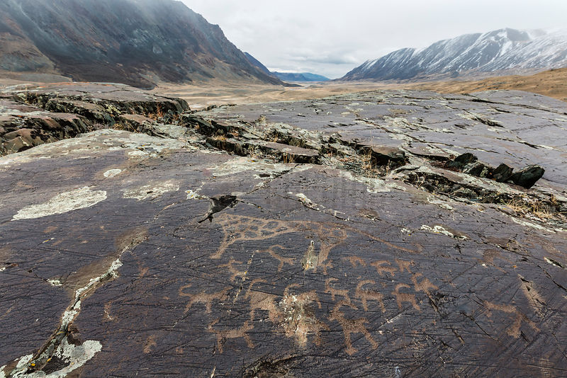 Petroglyphs at Tsagaan Salaa beneathe the Sacred Mountain