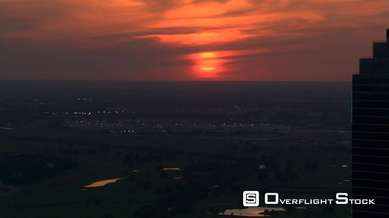 Sunset flight over Dallas, Texas