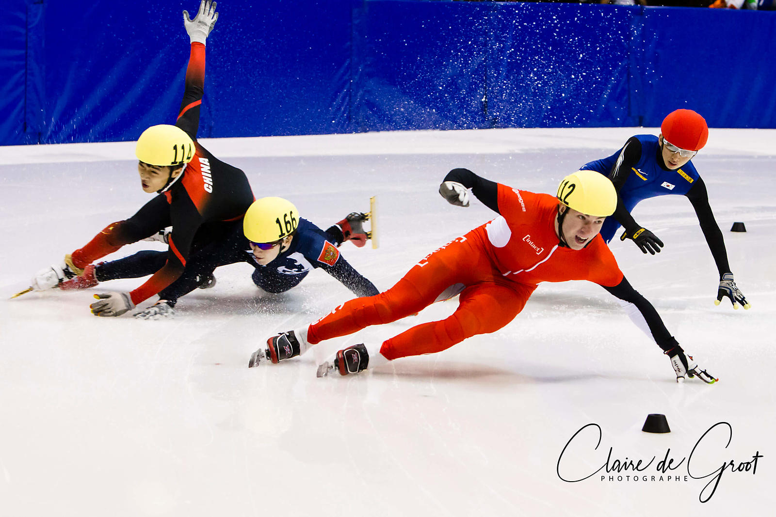 Crash in the 500m mens semi final at the Short Track 2012 ISU Junior World Championships