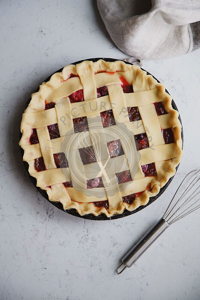 Uncooked berry pie with a lattice decoration