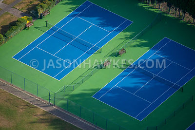 Aerial view of London, empty tennis courts