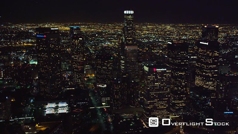 Flying by the skyscrapers of downtown Los Angeles at night. Shot in October