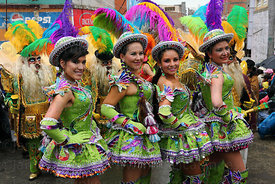 Beautiful female Chinita Morenada dancers, Oruro Carnival, Bolivia