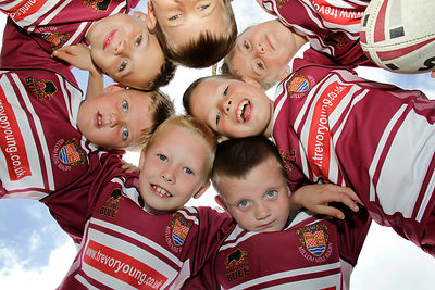 Co-operative Community Fund at Millom Rugby League club 04.08.12.Clockwise from bottom Jack Proctor, Jack Craghill, Harris Young, Oliver Hammond, Rownan Minter, India Jackson and Ryan Craghill