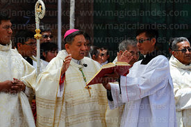 Bishop of Puno Jorge Carrion Pablisch reading from bible during central mass, Virgen de la Candelaria festival, Puno, Peru