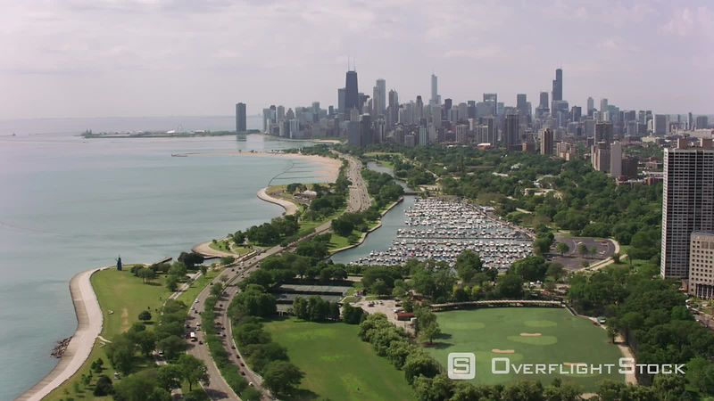 Chicago, Illinois Flying over Lincoln Park towards downtown Chicago.  Shot with Cineflex and RED EpicW Helium.