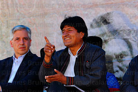 Bolivian president Evo Morales gestures at an event to celebrate Bolivia rejoining the 1961 UN Single Convention on Narcotic Drugs, La Paz, Bolivia