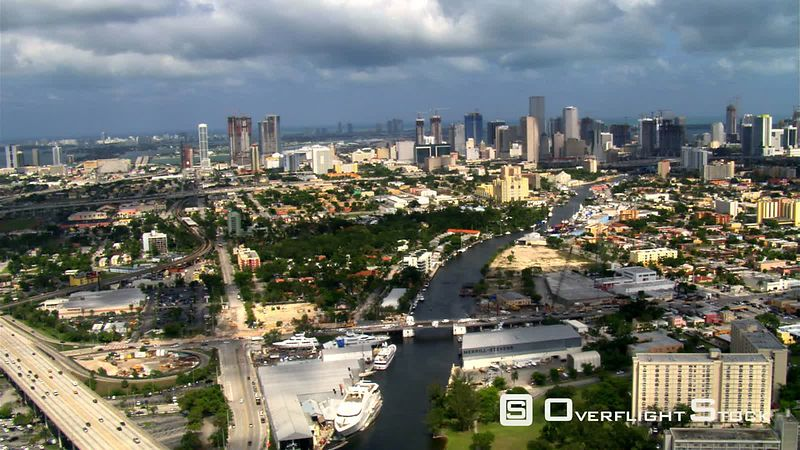 Flying east along Miami River toward downtown Miami.