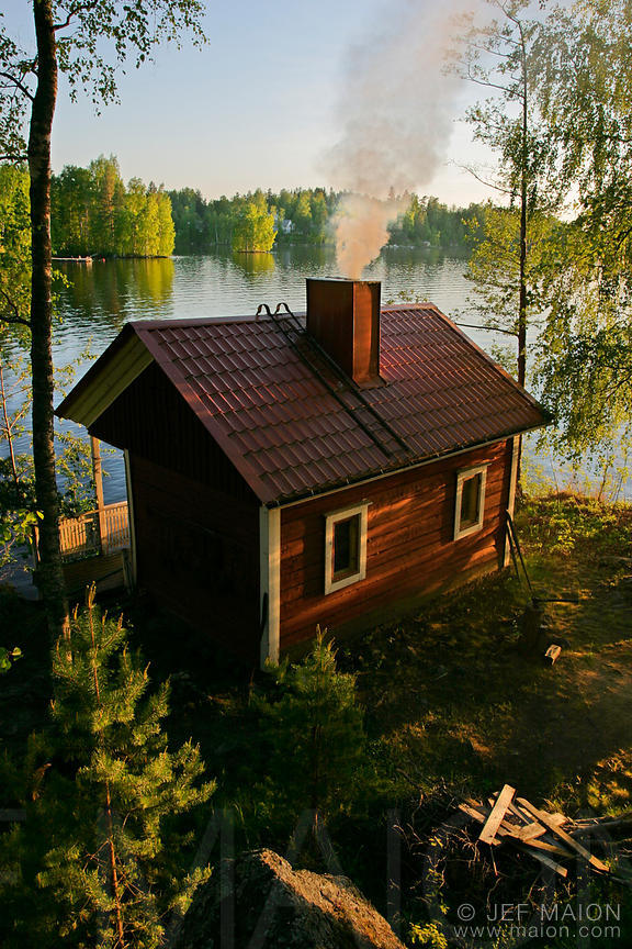 Timber house by a lake