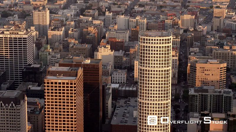 Aerial View Of Downtown Los Angeles, RED R3D 4k California