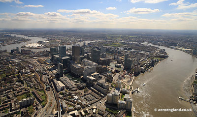 aerial photograph of the Isle of Dogs London