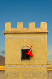 Moroccan flag in window