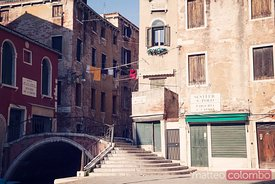Old quarter in Venice with typical houses and bridge