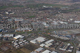 Widnes high level aerial photograph looking across from Dennis road and Fiddlers Ferry road towards Ashley Way and various retail parks and the town centre
