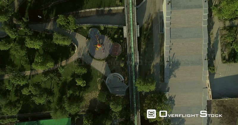 Aerial Camera flies along the Potemkin Steps whilst pointing directly down. Original in 4K and shot in early morning light in Odessa Ukraine