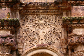 Detail of carving of human figure on main side entrance facade of St John the Baptist of Letrán / San Juan Bautista de Letrán church, Juli, Puno Region, Peru