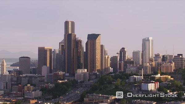 Seattle, Washington Aerial view of downtown Seattle in morning.  Shot with Cineflex and RED EpicW Helium.