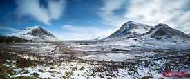 Rannoch moor with snow Scotland UK