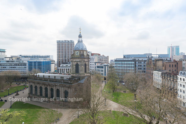 St Philips Cathedral and Square in Birmingham City Centre, England.