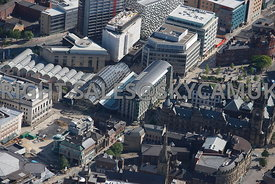 Sheffield aerial photograph looking towards the Winter Gardens Surrey Street and St Pauls Place in the city centre