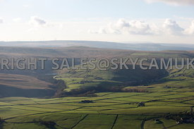 Lancashire aerial photograph of farm land and the ancient moorlands of Inchfield and Todmorden Moors