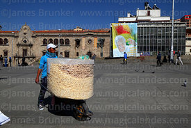 Pasankalla seller and banner for visit of Pope Francis, Plaza San Francisco, La Paz, Bolivia