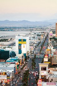 The Strip at sunset, Las Vegas, Nevada, USA