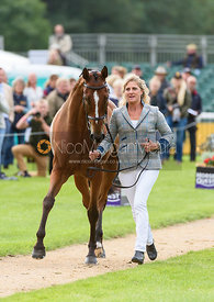 Kristina Cook and STAR WITNESS at the trot up, Land Rover Burghley Horse Trials 2018