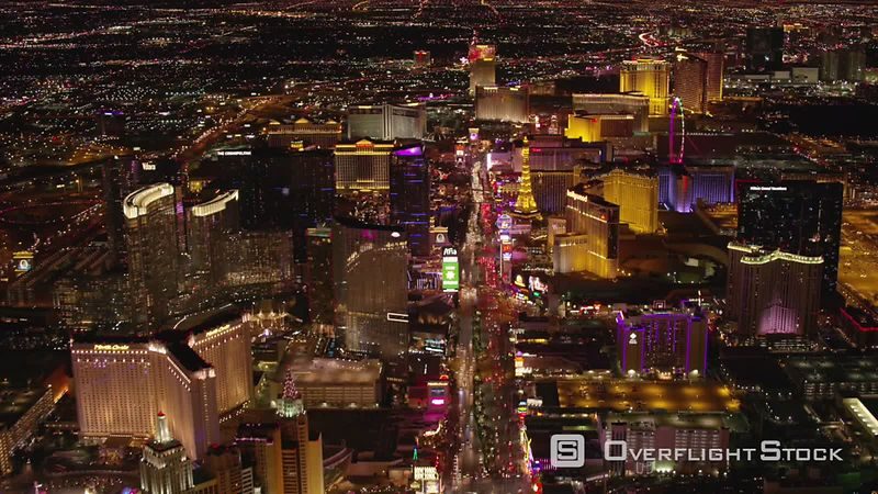 Las Vegas, Nevada Flying over Las Vegas Strip at night.  Shot with Cineflex and RED EpicW Helium.
