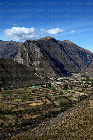View of Ollantaytambo and Urubamba valley, Sacred Valley, Peru