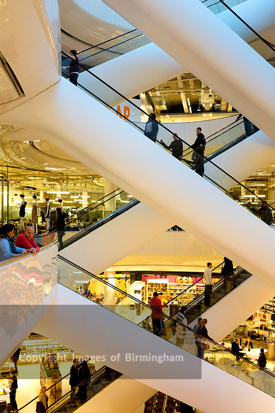 The escalators in Selfridges, the Bullring shopping centre, Birmingham, England.