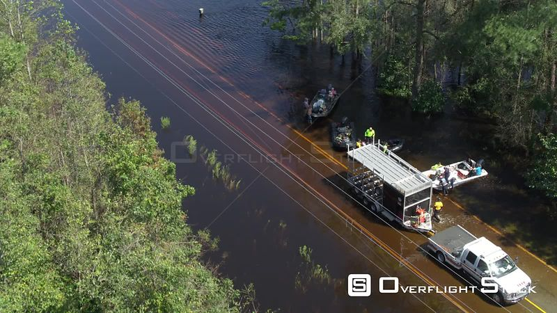 Road Flooding and Storm Aftermath of Hurricane Florence in North Carolina