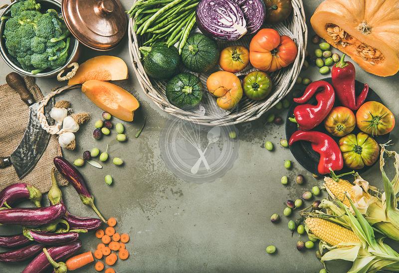 Healthy vegetarian seasonal Fall food cooking background