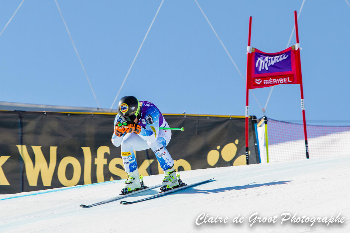USA's Andrew Weibrecht descending like a bullet in the Super G finals.