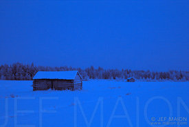 Rudimentary barn at nightfall