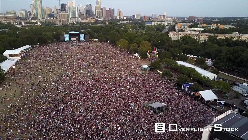 Aerial Drone Video Austin City Limits Music Festival  with view of Downtown Austin Texas