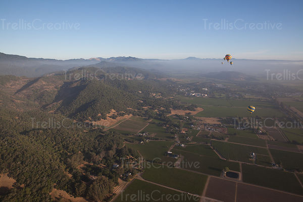 Soaring above Napa Valley wine country in a hot air balloon