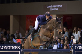 Bordeaux, France, 3.2.2018, Sport, Reitsport, Jumping International de Bordeaux - LONGINES FEI WORLD CUP™ JUMPING. Bild zeigt Francois Jr MATHY (BEL) riding Uno de la Roque (5*)...3/02/18, Bordeaux, France, Sport, Equestrian sport Jumping International de Bordeaux - LONGINES FEI WORLD CUP™ JUMPING. Image shows Francois Jr MATHY (BEL) riding Uno de la Roque (5*).