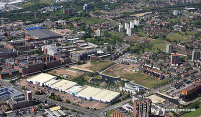aerial photograph of New Islington, Manchester England UK