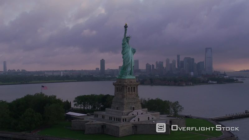 New York City Statue of Liberty on beautiful cloudy morning.   Shot with Cineflex and RED EpicW Helium.