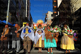 Hosting family (preste) at start of procession for Gran Poder festival, La Paz, Bolivia