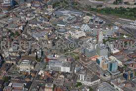 Sheffield aerial photograph looking towards the Town Hall and the Peace Gardens with the Winter Gardens and St Pauls Place in the foreground looking towards the Orchard shopping centre and the High Street and Castle Square