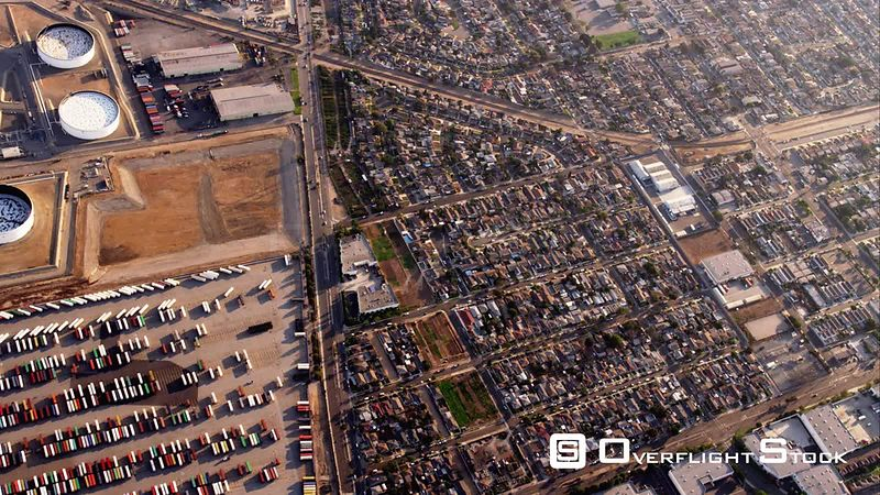 HA Aerial View Of Storage Tanks, Truck Yards And Light Industrial Areas, RED R3D 4k California