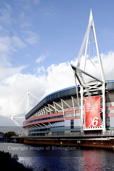 The Wales Millennium Stadium in Cardiff.  Home of Welsh Rugby.  Alongside the River Taff. Cardiff, Wales, Cymru, UK