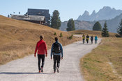 People hiking in the Fanes Sennes Prags Nature Park near Schluderbach Carbonin in the South Tyrol, Italy.