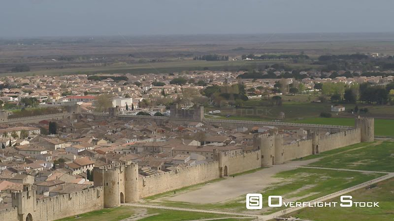Aerial view of Medieval City Aigues-Mortes, filmed by drone, France